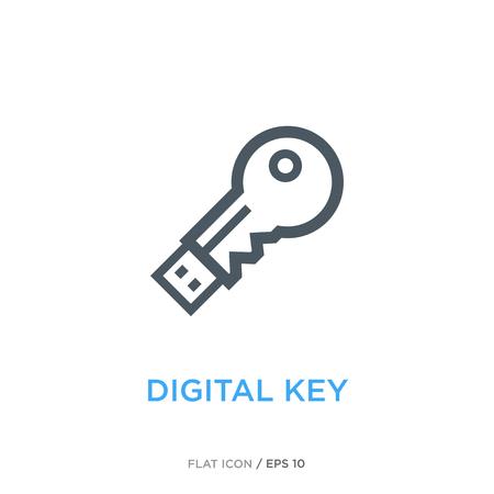 Digital key line flat icon Illusztráció