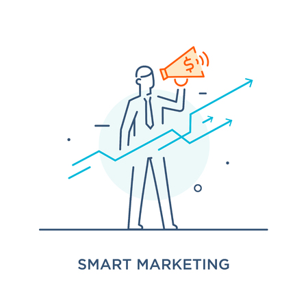Businessman with megaphone looking to the future. growth charts. Line icon illustration . Success, growth rates