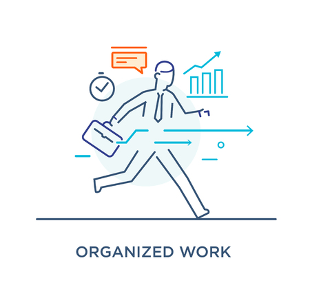 Businessman runs forward to success. growth charts. Line icon illustration. Success, rates