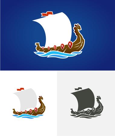 Viking drakkar. Sailing ship floating on the sea waves. Hand drawn design element. Old Russian ship. Vintage vector engraving illustration for poster, label, postmark. Isolated on blue background. Illustration