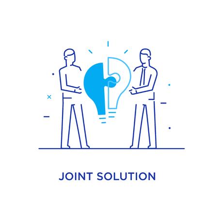 Businessmen connect puzzle lamp. Joint efforts, success, union, idea. Success Cooperation. line icon illustration