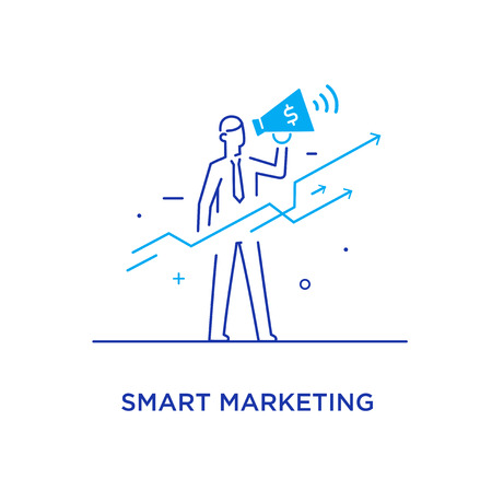 Businessman with megaphone looking to the future. growth charts. Success, growth rates. Line icon illustration