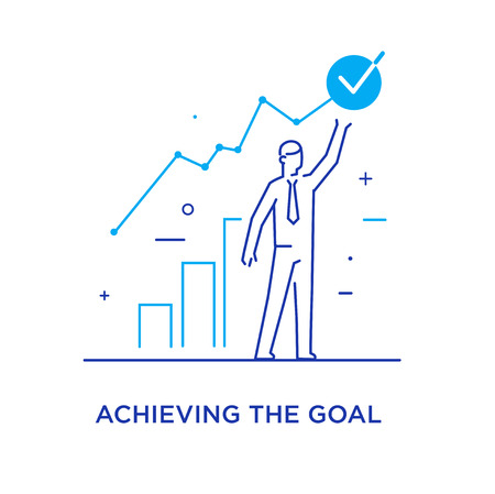 The businessman climbs the career ladder. achievements. execution schedule. Success, growth rates. Line icon illustration Stok Fotoğraf