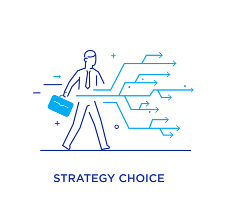 Businessman chooses the right path. Success, career. Line icon illustration