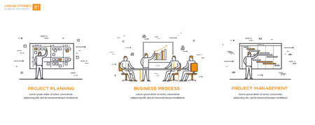 Linear Illustrations Set 01 Business processes