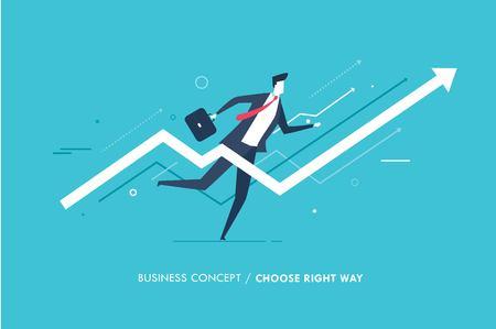 Businessman runs forward to success. growth charts. Success, rates