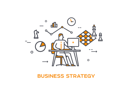 Icon illustration Business 05 Business strategy Çizim