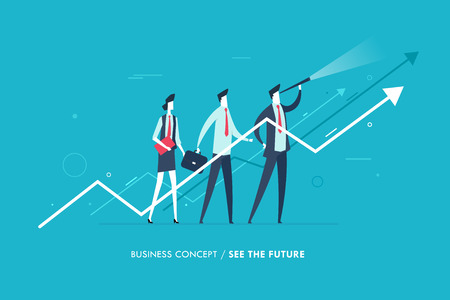 Businessman with telescope looking to the future. growth charts, group. Vector illustration. Success, rates