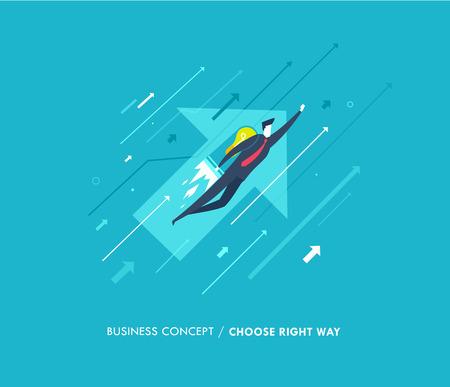 Homme d'affaires volant avec des jetpacks tournés vers l'avenir. courbes de croissance. Succès, taux de croissance