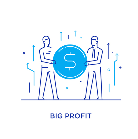 Businessmen team hold a huge dollar coin. Way to success, exchange rate. Business concept. line icon illustration Stok Fotoğraf