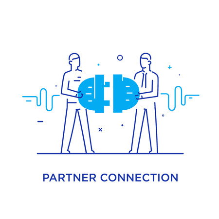 Businessmen connect connectors. Cooperation interaction. Success, Cooperation. line icon illustration Çizim