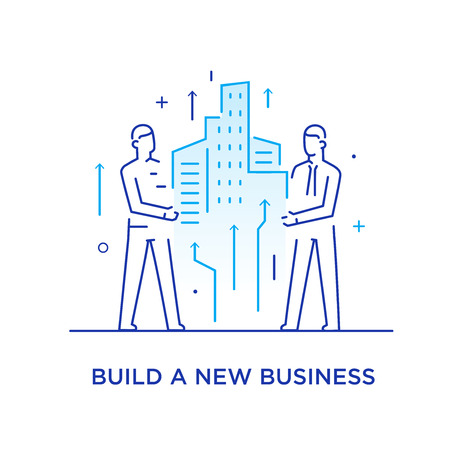 Businessmen build a city together. Cooperation interaction. Success, Cooperation. line icon illustration  イラスト・ベクター素材