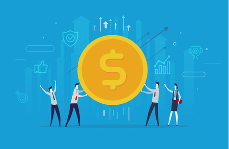Businessmen team hold a huge dollar coin. Way to success, exchange rate. Business concept. Vector eps10 Illustration
