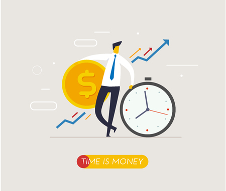 Businessmen hold a huge dollar coin relies on clock. Way to success, exchange rate. Business concept. Vector eps10.