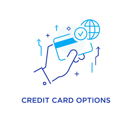 Unlimited credit card options. Workflow, growth, graphics. Business development, milestones, start-up. linear illustration Icons infographics. Landing page site print poster. Line story