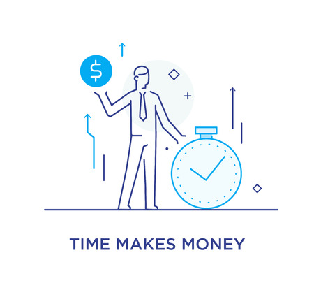 Time is money. businessman. growth charts. Line icon illustration. Success, rates