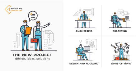 Builders, a new project, engineer, estimates. Stages of construction. lined icon, icons. Advertising booklet site infographic Vector illustration