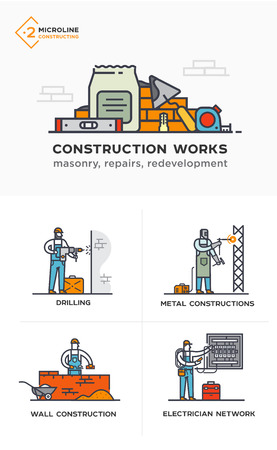 Builders, masonry, metal structures, electricity, walls. Stages of construction. lined icon icons. Advertising booklet site infographic Vector illustration  イラスト・ベクター素材