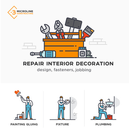 Builders, design, fasteners, jobbing, decoration. Stages of construction. lined icon icons. Advertising booklet site infographic Vector illustration Ilustração