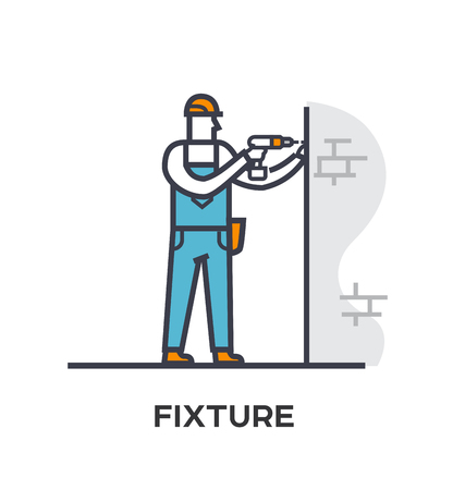 Worker drills a wall. Stages of construction. lined icon, icons. Advertising booklet site infographic Vector illustration Foto de archivo - 109798565