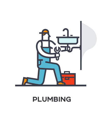 Plumber repairs and installs the sink. Stages of construction. lined icon, icons. Advertising booklet site infographic Vector illustration