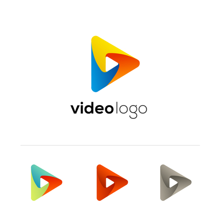 Vector play icon. Video application icon design template. Music player. Paper origami collection. Application icon design for smartphone. Material design