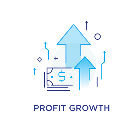 Profit growth. bank notes. Way to success, exchange rate. Business concept. line icon illustration Çizim