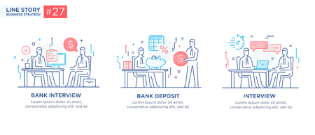 Set of illustrations concept with business concept. Workflow, growth, graphics. Business development, milestones, start-up. linear illustration Icons infographics. Landing page site print poster. Line story