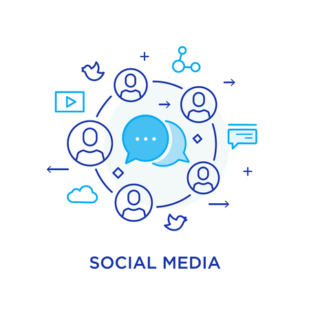 Social media blog. Virtual communication smartphone. Cooperation interaction. Vector illustration Eps 10 file. Success, Cooperation. line icon illustration Çizim