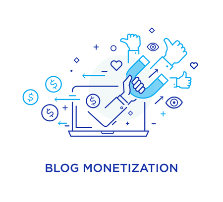 Shake hands blog monetisation. Virtual communication smartphone. Cooperation interaction. Vector illustration Eps 10 file. Success, Cooperation. line icon illustration Illustration