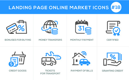 Flat line design concept icons online shopping, e-commerce m-commerce services, payment procedure, certified, credit, tickets, transport, bills, granting, card, online order procedure, website banner and landing page