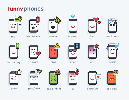 set of smile phones with different emotions