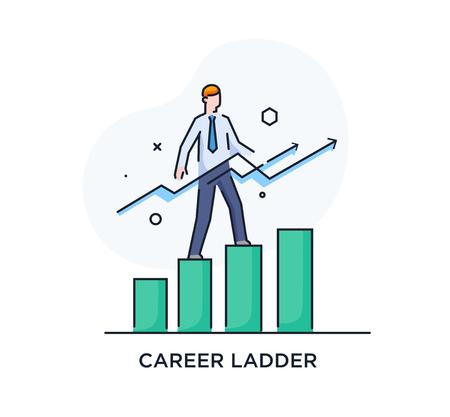 Businessman climbing graph, career success Ilustração