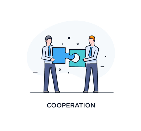 Businessmen connect puzzle. Joint efforts, success, union. Success Cooperation. line icon illustration Stok Fotoğraf - 122855106