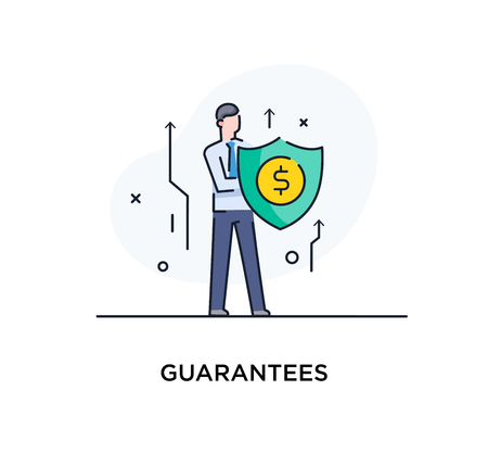 Businessman climbing graph, protects the shield. growth charts Success, growth rates. Line icon illustration