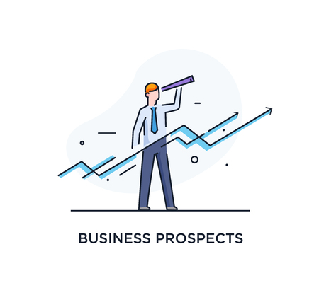 Businessman runs forward to success. growth charts. Line icon illustration. Success, rates