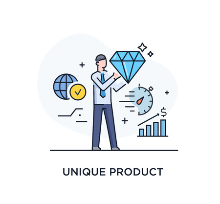 Businessman will present a unique product. Success, achieving goals, pride. Success. Line icon illustration