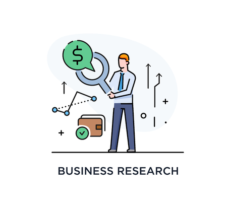 Businessman with magnifier looking for money. Line icon illustration. Success, rates Stok Fotoğraf - 122855112