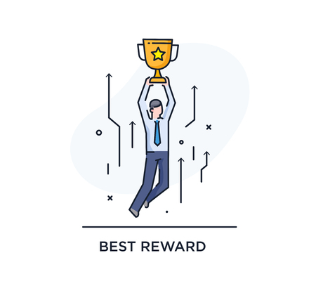 Businessman holding a cup. Success, achieving goals, pride. Success. Line icon illustration