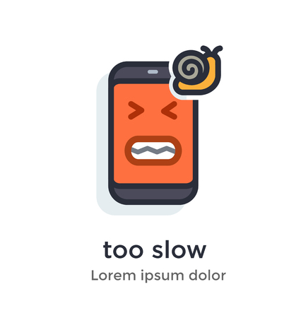 Emotion phoneproblems, glitches, virus, firmware, os, snail, slowly, friezes annoying work illustration Icon Landing page site print poster video animation