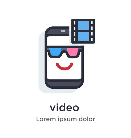 Emotion phone content, video, 3d, full, hd, watch, server, movie, series illustration Icon Landing page site print poster video animation