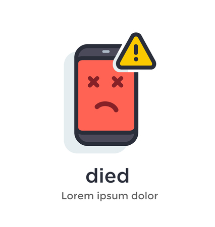 Emotion phone disease, thermometer, problems, glitches, virus, firmware, os illustration Icon. Çizim