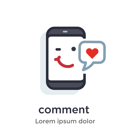 Emotion phone content, private, comment, like, love, heart illustration Icon. Landing page site print poster video animation.