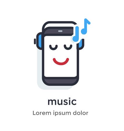 Emotion phone headphones, music, listening, enjoying, quality, codec, notes illustration Icon. Ilustração