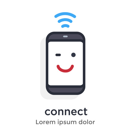 Emotion phone WiFi, signal, good, starting, network, illustration Icon.