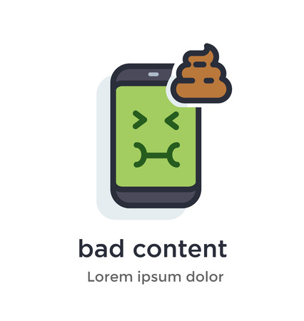 Emotion phone bad, content, turd, nauseous, green, nasty illustration Icon. Landing page site print poster video animation.