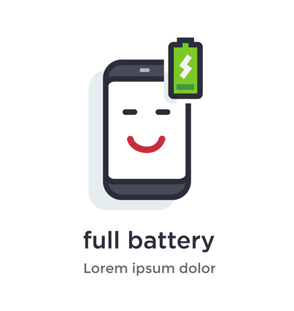 Emotion phone charging, full, honest, wireless illustration Icon. Landing page site print poster video animation. Çizim