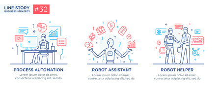 Set of illustrations concept with businessmen. technology, partnership, connection, business robot, cybes. linear illustration Icons infographics. Landing page site print poster. Line story