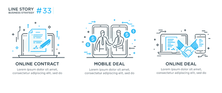 Set of illustrations concept with businessmen. Workflow, growth, graphics. Business development, milestones. linear illustration Icons infographics. Landing page site print poster. Eps vector. Line story Illustration