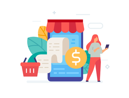 Ordering goods via smartphone icon, illustration. Smartphones tablets user interface social media.Flat illustration Icons infographics. Landing page site print poster. Eps vector.